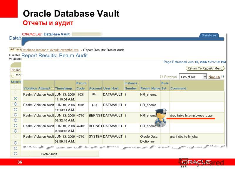 36 Oracle Database Vault Отчеты и аудит Более 30 предустановленных отчетов о выполнении политик безопасности Аудит попыток нарушений защиты Отчеты по защищенным областям (Realms), выполнении правил (Rules) и условий (Factors) Списки системных и польз
