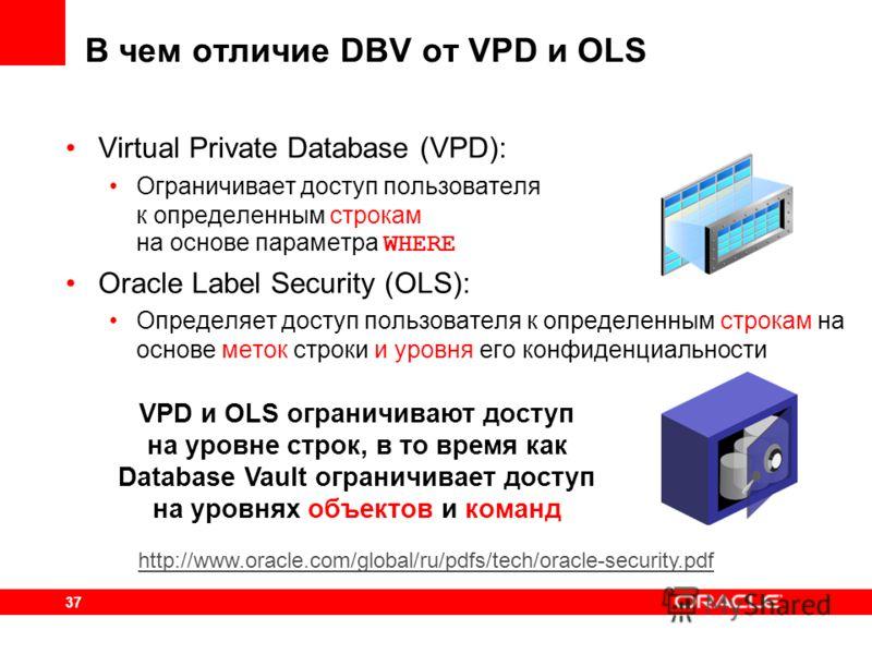 37 VPD и OLS ограничивают доступ на уровне строк, в то время как Database Vault ограничивает доступ на уровнях объектов и команд В чем отличие DBV от VPD и OLS Virtual Private Database (VPD): Ограничивает доступ пользователя к определенным строкам на