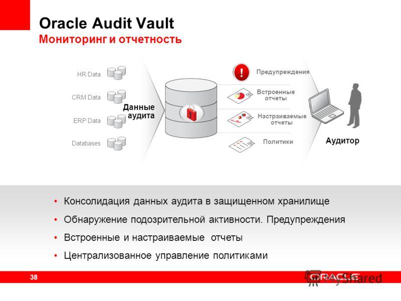 38 Oracle Audit Vault Мониторинг и отчетность Консолидация данных аудита в защищенном хранилище Обнаружение подозрительной активности. Предупреждения Встроенные и настраиваемые отчеты Централизованное управление политиками CRM Data ERP Data Databases