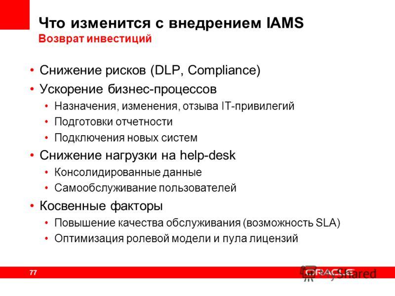 77 Что изменится с внедрением IAMS Возврат инвестиций Снижение рисков (DLP, Compliance) Ускорение бизнес-процессов Назначения, изменения, отзыва IT-привилегий Подготовки отчетности Подключения новых систем Снижение нагрузки на help-desk Консолидирова