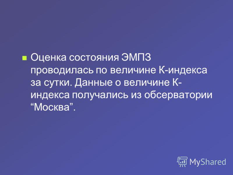 Оценка состояния ЭМПЗ проводилась по величине К-индекса за сутки. Данные о величине К- индекса получались из обсерватории Москва.