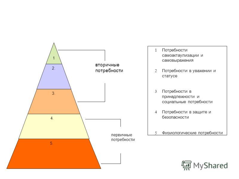 1.1. 2. 3. 4. 5. вторичные потребности первичные потребности 1 Потребности самоактаулизации и самовыражения 2 Потребности в уважении и статусе 3 Потребности в принадлежности и социальные потребности 4 Потребности в защите и безопасности 5 Физиологиче