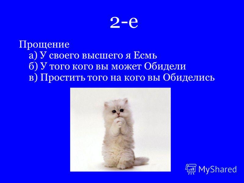 2-е Прощение а) У своего высшего я Есмь б) У того кого вы может Обидели в) Простить того на кого вы Обиделись