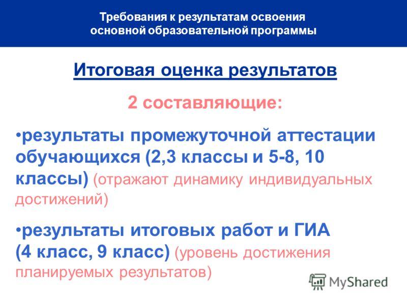 Требования к результатам освоения основной образовательной программы Итоговая оценка результатов 2 составляющие: результаты промежуточной аттестации обучающихся (2,3 классы и 5-8, 10 классы) (отражают динамику индивидуальных достижений) результаты ит