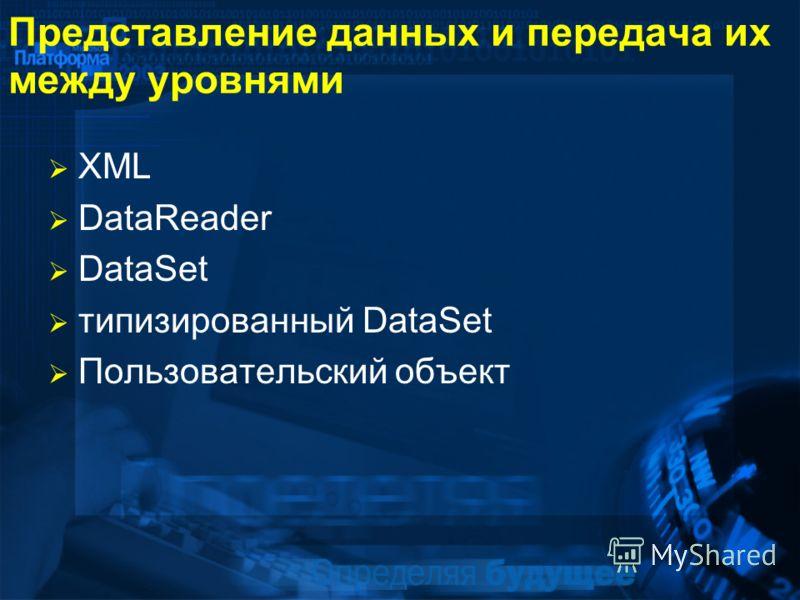 Представление данных и передача их между уровнями XML DataReader DataSet типизированный DataSet Пользовательский объект