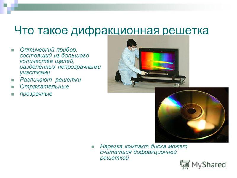 Что такое дифракционная решетка Оптический прибор, состоящий из большого количества щелей, разделенных непрозрачными участками Различают решетки Отражательные прозрачные Нарезка компакт диска может считаться дифракционной решеткой