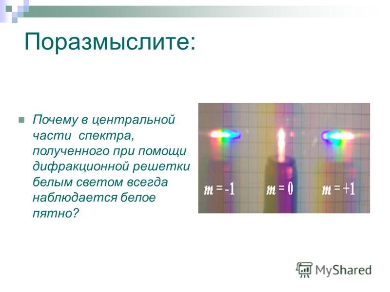 Поразмыслите: Почему в центральной части спектра, полученного при помощи дифракционной решетки белым светом всегда наблюдается белое пятно?