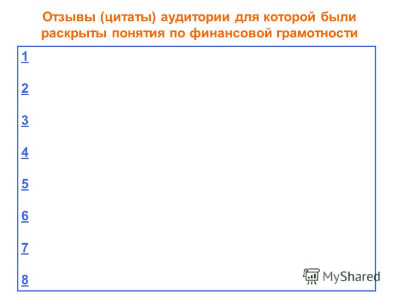 Отзывы (цитаты) аудитории для которой были раскрыты понятия по финансовой грамотности 1234567812345678