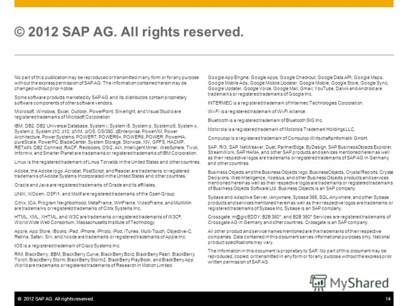 ©2012 SAP AG. All rights reserved.14 © 2012 SAP AG. All rights reserved. No part of this publication may be reproduced or transmitted in any form or for any purpose without the express permission of SAP AG. The information contained herein may be cha