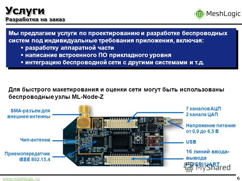www.meshlogic.ru 6 Услуги Разработка на заказ Мы предлагаем услуги по проектированию и разработке беспроводных систем под индивидуальные требования приложения, включая: разработку аппаратной части написание встроенного ПО прикладного уровня интеграци