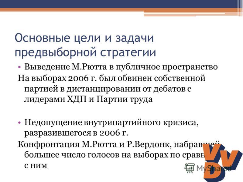 Основные цели и задачи предвыборной стратегии Выведение М.Рютта в публичное пространство На выборах 2006 г. был обвинен собственной партией в дистанцировании от дебатов с лидерами ХДП и Партии труда Недопущение внутрипартийного кризиса, разразившегос
