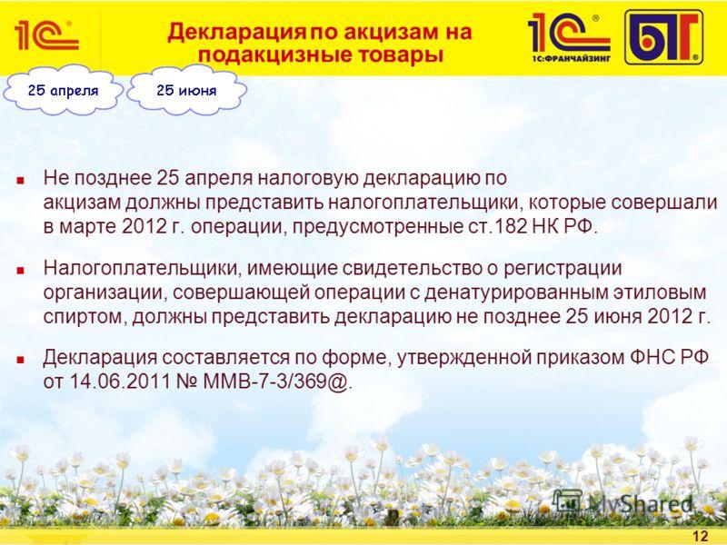 12 Декларация по акцизам на подакцизные товары Не позднее 25 апреля налоговую декларацию по акцизам должны представить налогоплательщики, которые совершали в марте 2012 г. операции, предусмотренные ст.182 НК РФ. Налогоплательщики, имеющие свидетельст