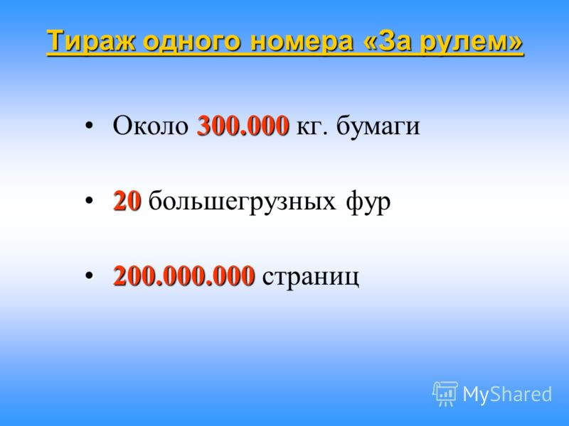 Тираж одного номера «За рулем» 300.000 Около 300.000 кг. бумаги 20 20 большегрузных фур 200.000.000 200.000.000 страниц