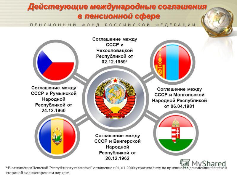 Соглашение между СССР и Чехословацкой Республикой от 02.12.1959* Соглашение между СССР и Монгольской Народной Республикой от 06.04.1981 Соглашение между СССР и Венгерской Народной Республикой от 20.12.1962 Действующие международные соглашения в пенси