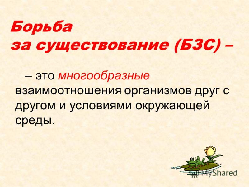 Борьба за существование (БЗС) – – это многообразные взаимоотношения организмов друг с другом и условиями окружающей среды.