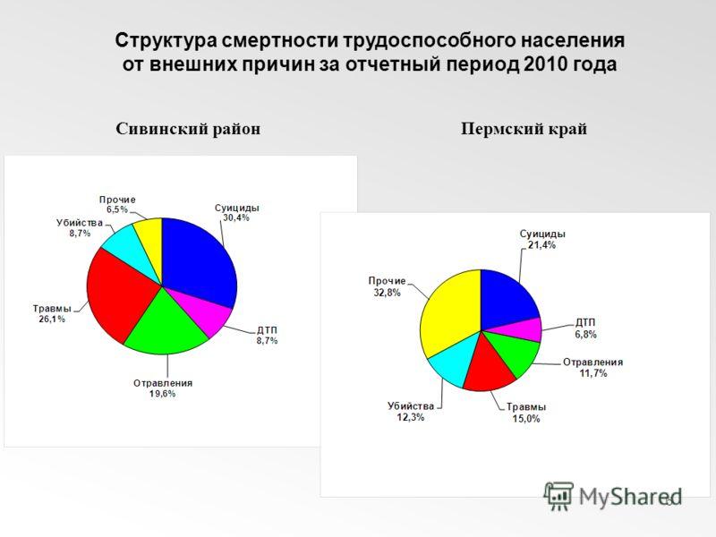 6 Структура смертности трудоспособного населения от внешних причин за отчетный период 2010 года Сивинский районПермский край