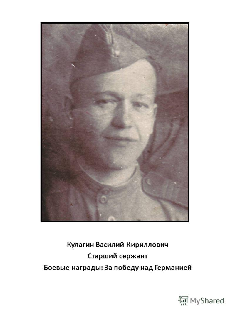 Кулагин Василий Кириллович Старший сержант Боевые награды: За победу над Германией