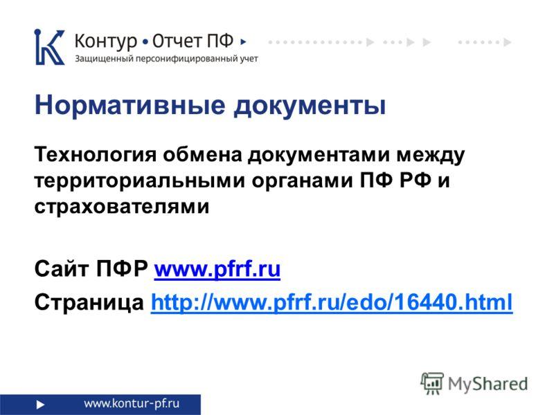 Технология обмена документами между территориальными органами ПФ РФ и страхователями Нормативные документы Сайт ПФР www.pfrf.ruwww.pfrf.ru Страница http://www.pfrf.ru/edo/16440.html