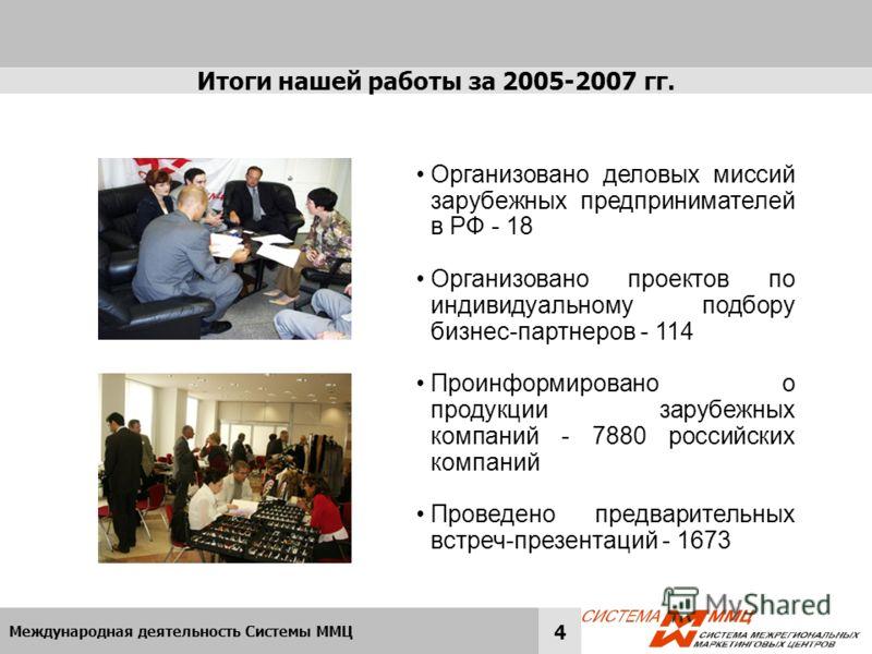 Международная деятельность Системы ММЦ 4 Итоги нашей работы за 2005-2007 гг. Организовано деловых миссий зарубежных предпринимателей в РФ - 18 Организовано проектов по индивидуальному подбору бизнес-партнеров - 114 Проинформировано о продукции зарубе