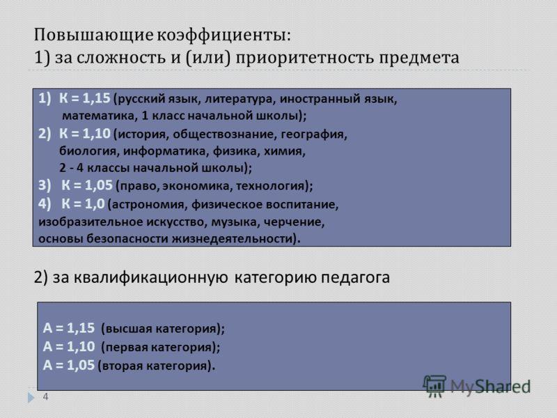 Повышающие коэффициенты : 1) за сложность и ( или ) приоритетность предмета 4 1)К = 1,15 ( русский язык, литература, иностранный язык, математика, 1 класс начальной школы ); 2)К = 1,10 ( история, обществознание, география, биология, информатика, физи