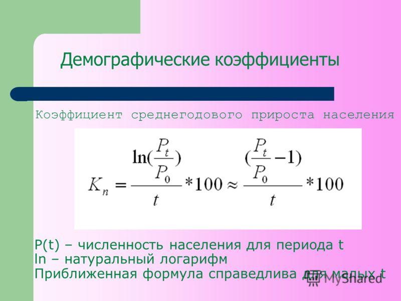 Демографические коэффициенты Коэффициент среднегодового прироста населения P(t) – численность населения для периода t ln – натуральный логарифм Приближенная формула справедлива для малых t