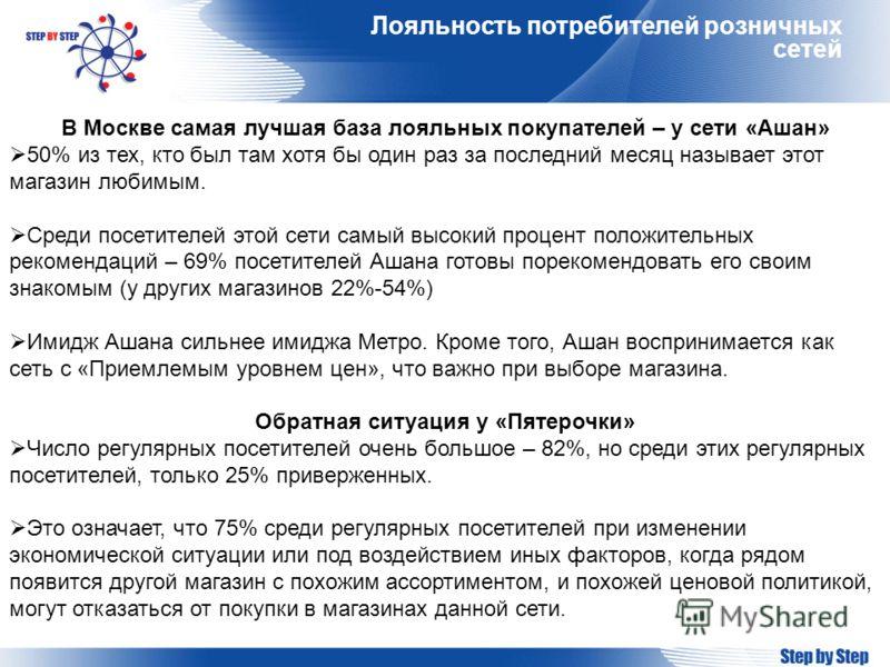 Лояльность потребителей розничных сетей В Москве самая лучшая база лояльных покупателей – у сети «Ашан» 50% из тех, кто был там хотя бы один раз за последний месяц называет этот магазин любимым. Среди посетителей этой сети самый высокий процент полож