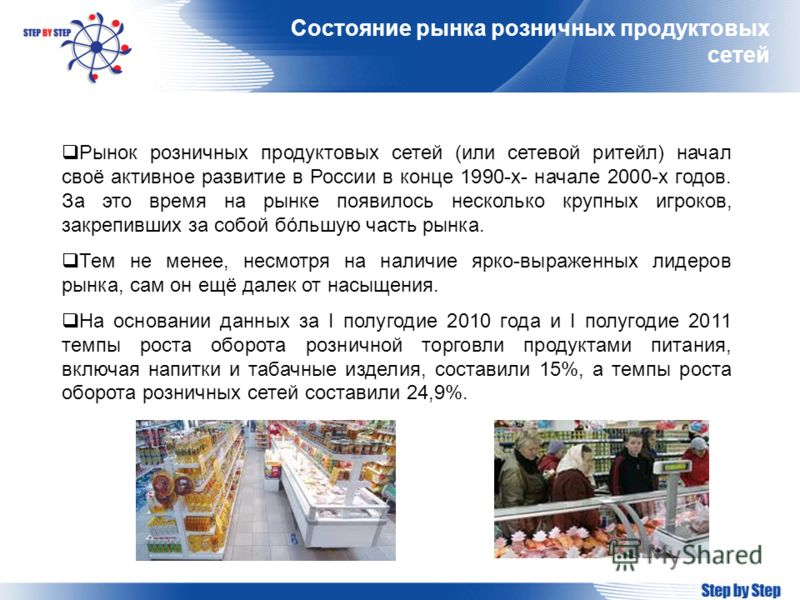 Состояние рынка розничных продуктовых сетей Рынок розничных продуктовых сетей (или сетевой ритейл) начал своё активное развитие в России в конце 1990-х- начале 2000-х годов. За это время на рынке появилось несколько крупных игроков, закрепивших за со