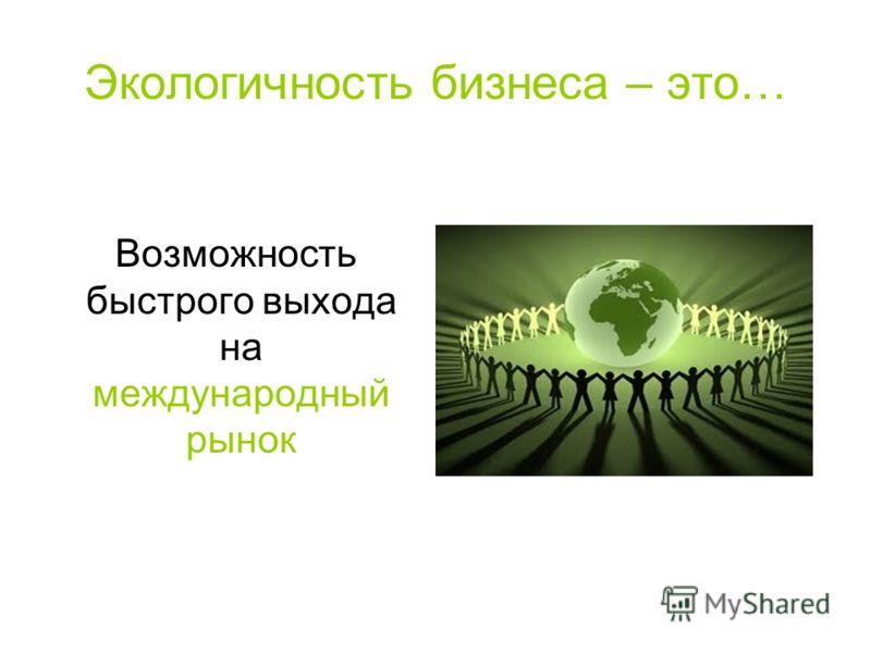 Экологичность бизнеса – это… Возможность быстрого выхода на международный рынок