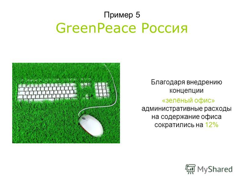 Пример 5 GreenPeace Россия Благодаря внедрению концепции «зелёный офис» административные расходы на содержание офиса сократились на 12%