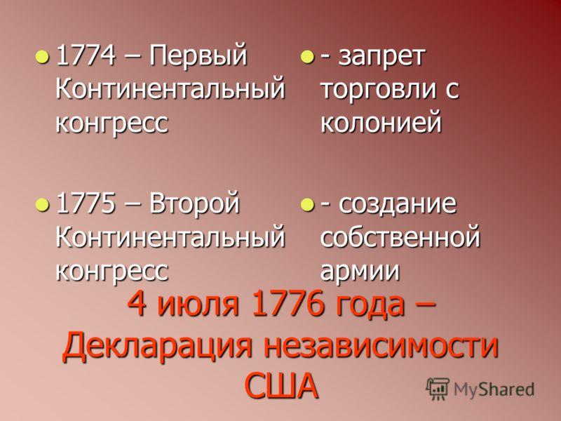 4 июля 1776 года – Декларация независимости США 1774 – Первый Континентальный конгресс 1774 – Первый Континентальный конгресс 1775 – Второй Континентальный конгресс 1775 – Второй Континентальный конгресс - запрет торговли с колонией - запрет торговли