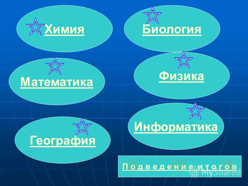 Химия Математика Биология География Информатика П о д в е д е н и е и т о г о в Физика