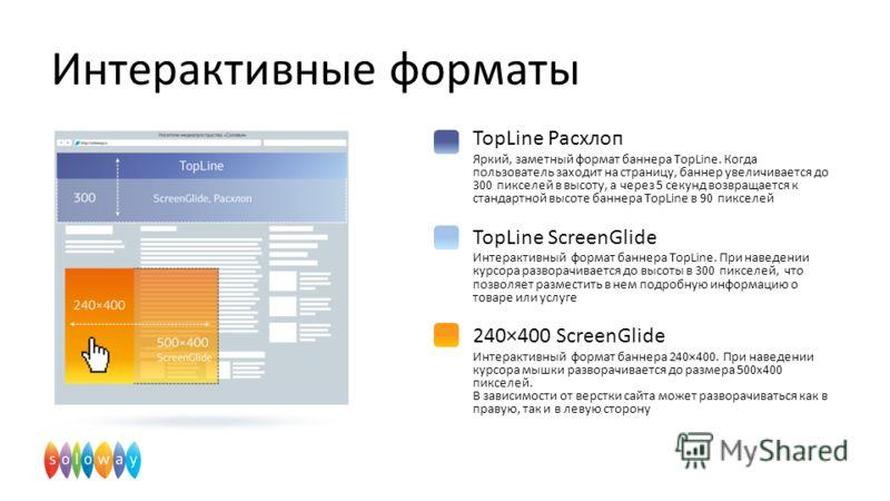Интерактивные форматы TopLine Расхлоп Яркий, заметный формат баннера TopLine. Когда пользователь заходит на страницу, баннер увеличивается до 300 пикселей в высоту, а через 5 секунд возвращается к стандартной высоте баннера TopLine в 90 пикселей TopL