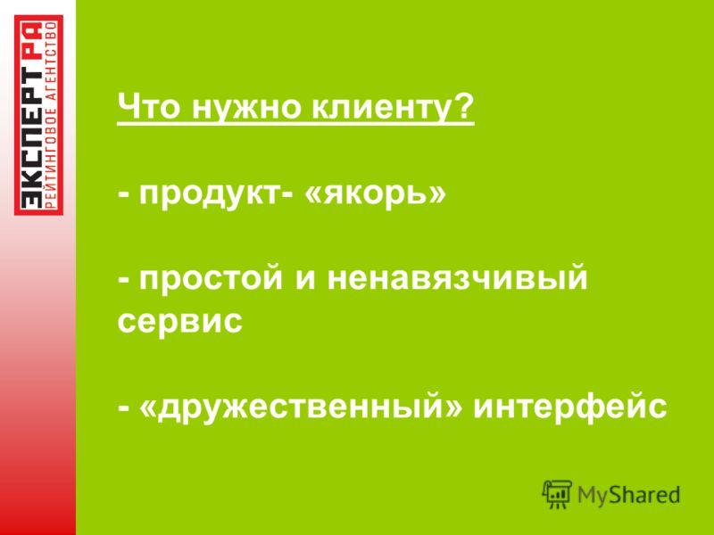 Что нужно клиенту? - продукт- «якорь» - простой и ненавязчивый сервис - «дружественный» интерфейс