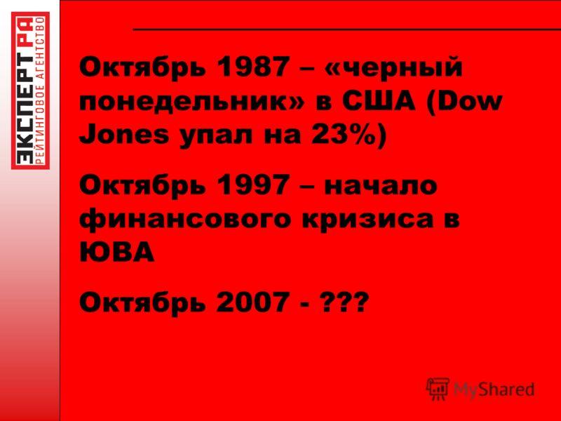 Октябрь 1987 – «черный понедельник» в США (Dow Jones упал на 23%) Октябрь 1997 – начало финансового кризиса в ЮВА Октябрь 2007 - ???
