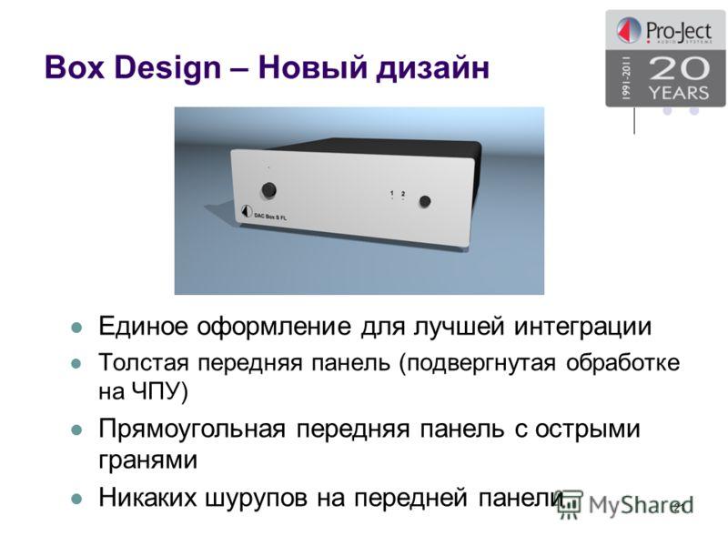 Box Design – Новый дизайн Единое оформление для лучшей интеграции Толстая передняя панель (подвергнутая обработке на ЧПУ) Прямоугольная передняя панель с острыми гранями Никаких шурупов на передней панели 21