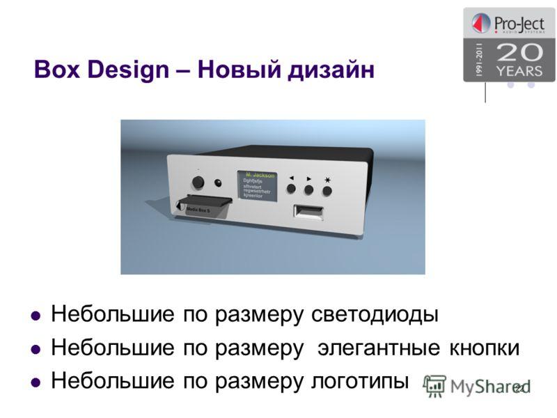 Box Design – Новый дизайн Небольшие по размеру светодиоды Небольшие по размеру элегантные кнопки Небольшие по размеру логотипы 22