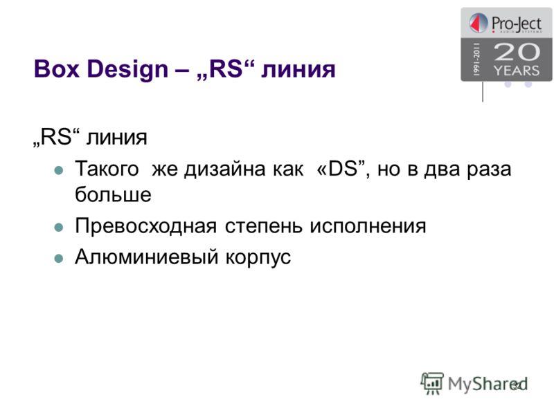 Box Design – RS линия 32 RS линия Такого же дизайна как «DS, но в два раза больше Превосходная степень исполнения Алюминиевый корпус