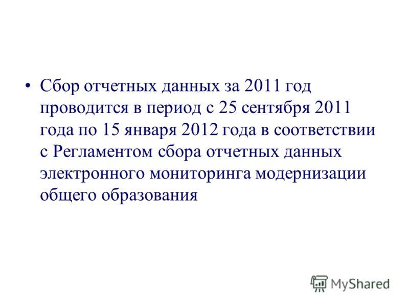 Сбор отчетных данных за 2011 год проводится в период с 25 сентября 2011 года по 15 января 2012 года в соответствии с Регламентом сбора отчетных данных электронного мониторинга модернизации общего образования