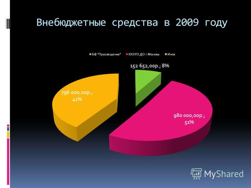 Внебюджетные средства в 2009 году