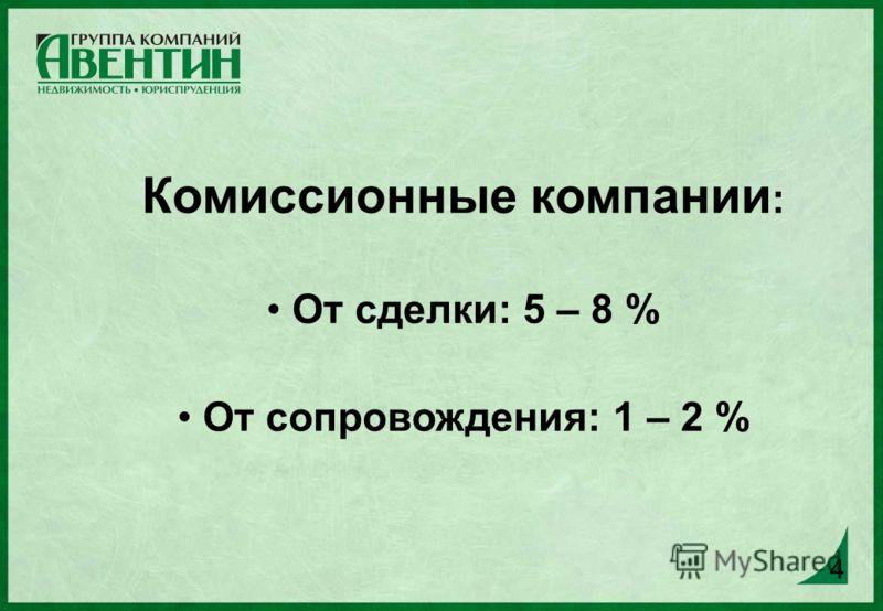 4 Комиссионные компании : От сделки: 5 – 8 % От сопровождения: 1 – 2 % 4