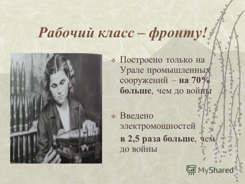Рабочий класс – фронту! Построено только на Урале промышленных сооружений – на 70% больше, чем до войны Введено электромощностей в 2,5 раза больше, чем до войны
