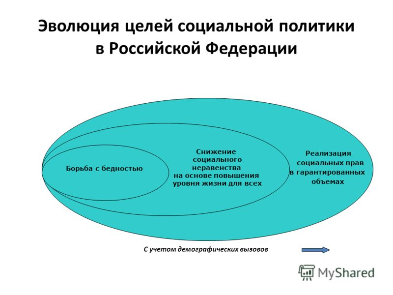 Эволюция целей социальной политики в Российской Федерации С учетом демографических вызовов Реализация социальных прав в гарантированных объемах Снижение социального неравенства на основе повышения уровня жизни для всех Борьба с бедностью