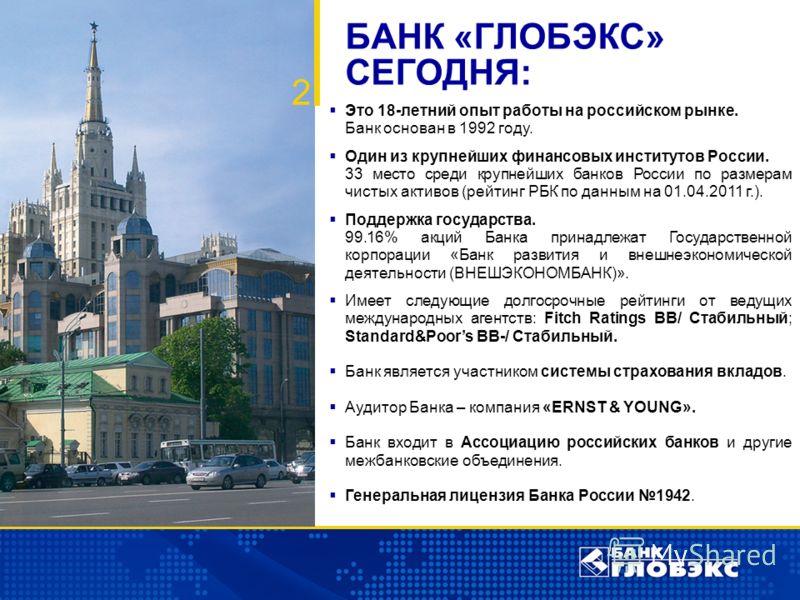 Это 18-летний опыт работы на российском рынке. Банк основан в 1992 году. Один из крупнейших финансовых институтов России. 33 место среди крупнейших банков России по размерам чистых активов (рейтинг РБК по данным на 01.04.2011 г.). Поддержка государст