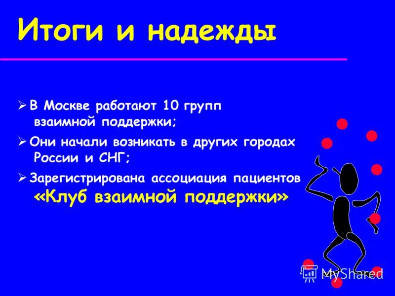 Итоги и надежды В Москве работают 10 групп взаимной поддержки; Они начали возникать в других городах России и СНГ; Зарегистрирована ассоциация пациентов «Клуб взаимной поддержки»