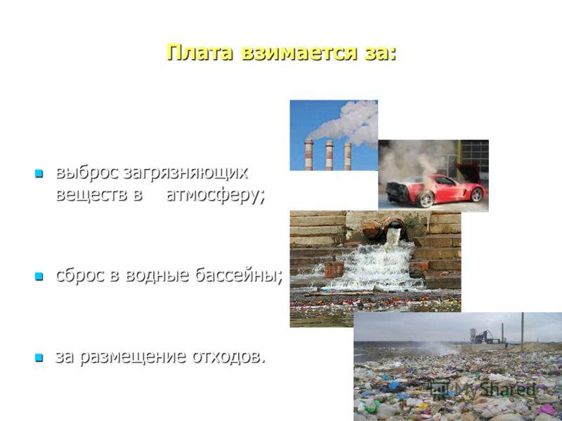 Плата взимается за: выброс загрязняющих веществ в атмосферу; выброс загрязняющих веществ в атмосферу; сброс в водные бассейны; сброс в водные бассейны; за размещение отходов. за размещение отходов.