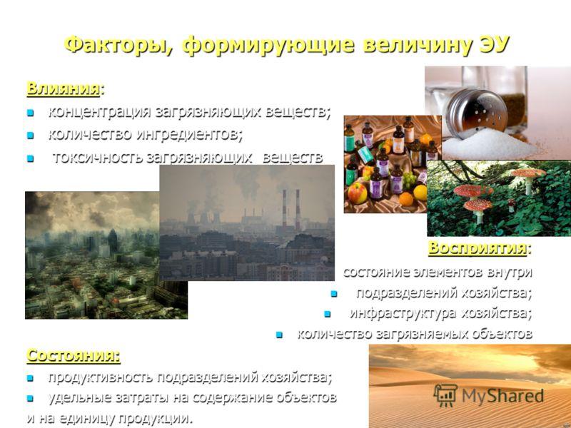 Факторы, формирующие величину ЭУ Влияния: концентрация загрязняющих веществ; концентрация загрязняющих веществ; количество ингредиентов; количество ингредиентов; токсичность загрязняющих веществ токсичность загрязняющих веществ Восприятия: состояние