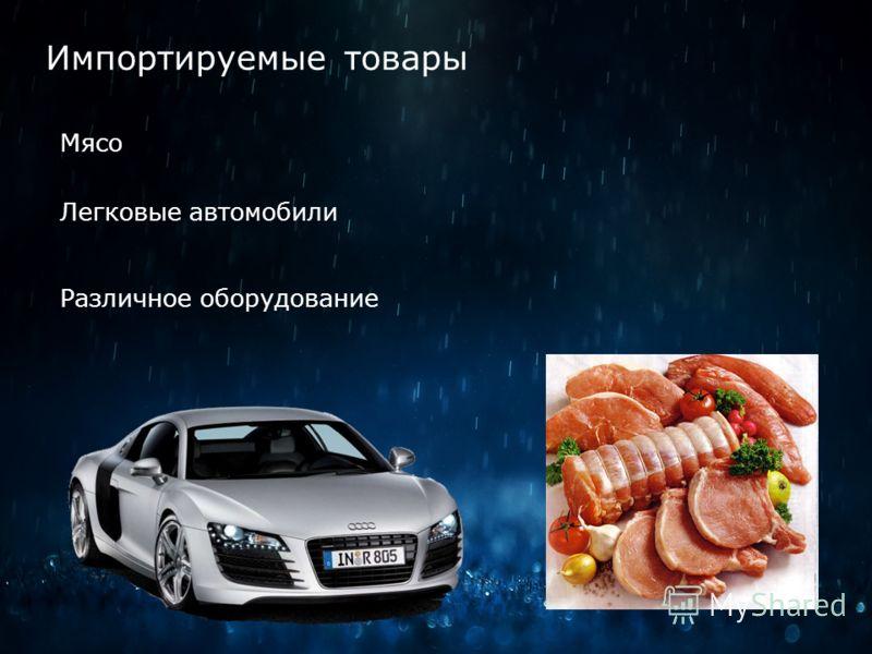 Импортируемые товары Мясо Легковые автомобили Различное оборудование