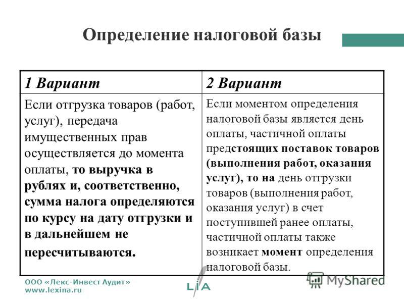 ООО «Лекс-Инвест Аудит» www.lexina.ru Определение налоговой базы 1 Вариант2 Вариант Если отгрузка товаров (работ, услуг), передача имущественных прав осуществляется до момента оплаты, то выручка в рублях и, соответственно, сумма налога определяются п