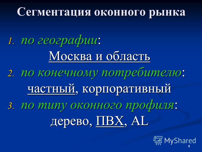 4 Сегментация оконного рынка 1. по географии: Москва и область 2. по конечному потребителю: частный, корпоративный 3. по типу оконного профиля: дерево, ПВХ, AL
