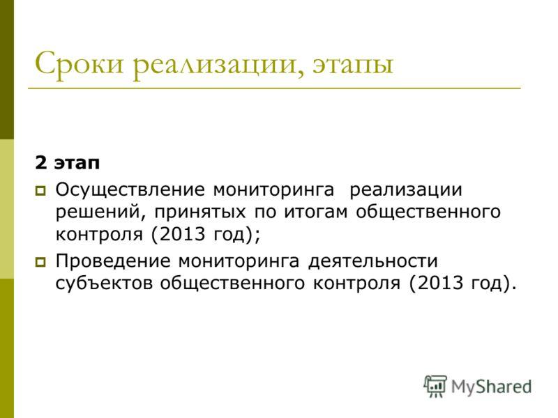 Сроки реализации, этапы 2 этап Осуществление мониторинга реализации решений, принятых по итогам общественного контроля (2013 год); Проведение мониторинга деятельности субъектов общественного контроля (2013 год).
